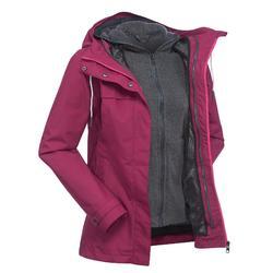 女士三合一健行旅遊外套TRAVEL 100粉色