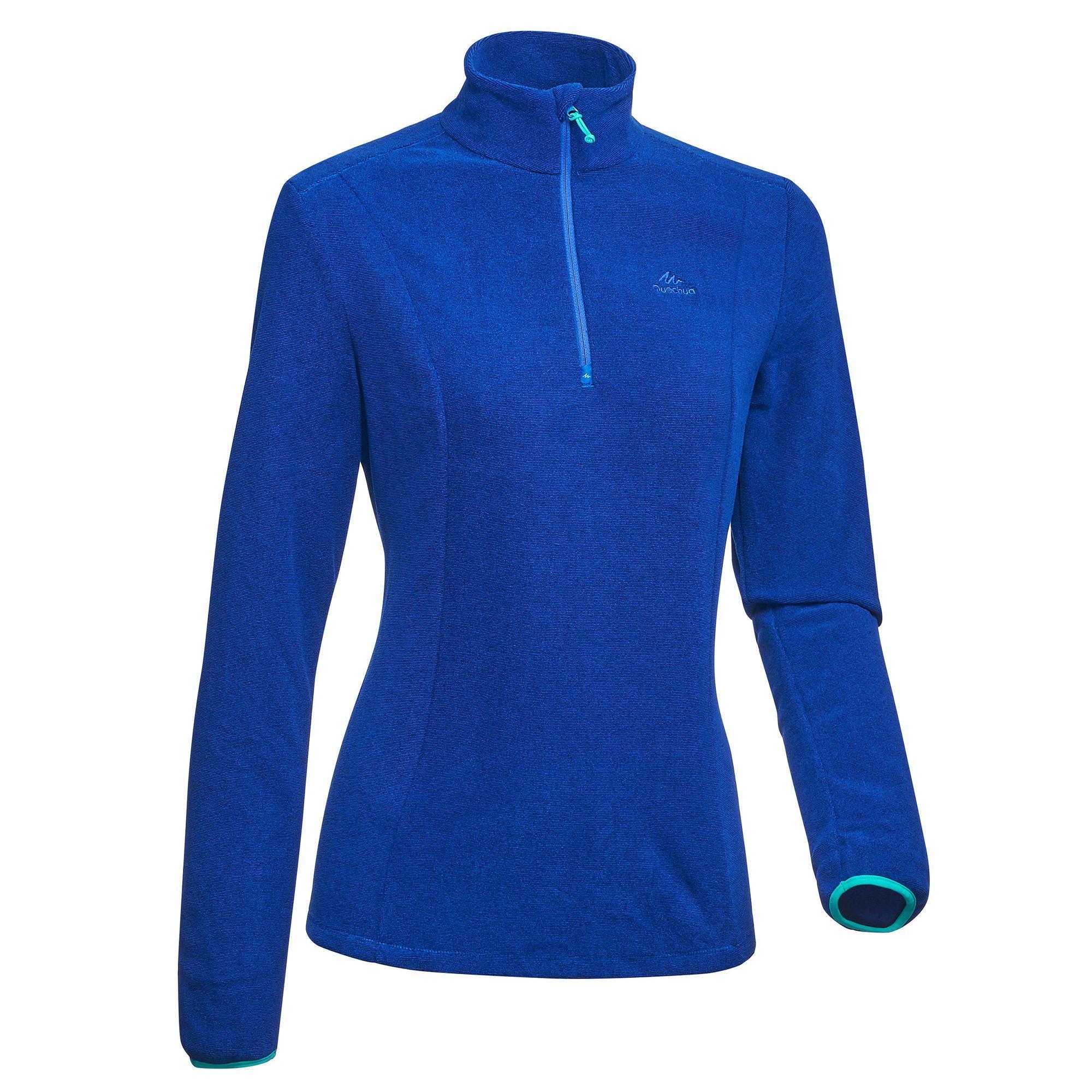 Fleecepullover Bergwandern MH100 Damen blau gestreift | Sportbekleidung > Fleecepullover | Quechua