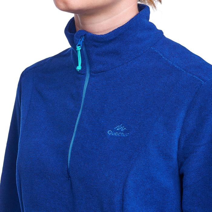 Fleecepullover Bergwandern MH100 Damen blau gestreift