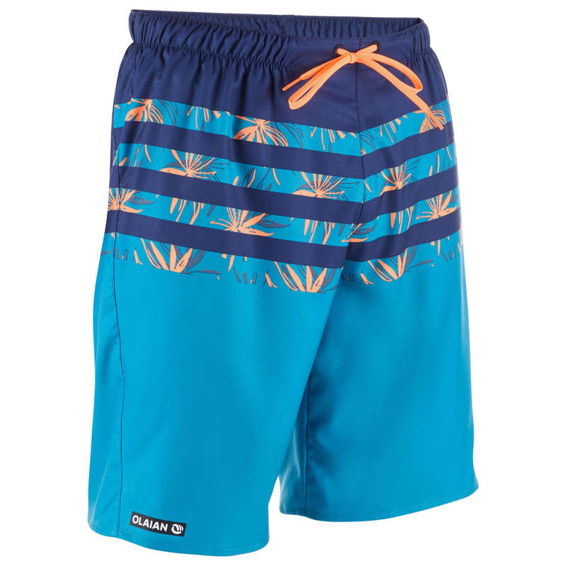 MEN'S BEGINNER BOARDSHORTS Swimwear and Beachwear - BS 100S - Flostripe Blue OLAIAN - Swimwear and Beachwear