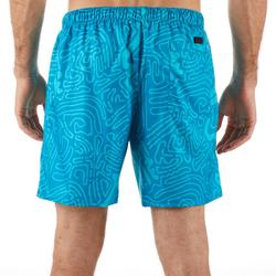 短版衝浪海灘褲100-淺碧藍色及海洋迷彩款