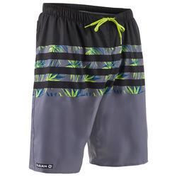 長版衝浪海灘褲100-灰色橫條紋