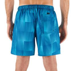 短版衝浪褲100-藍色方格