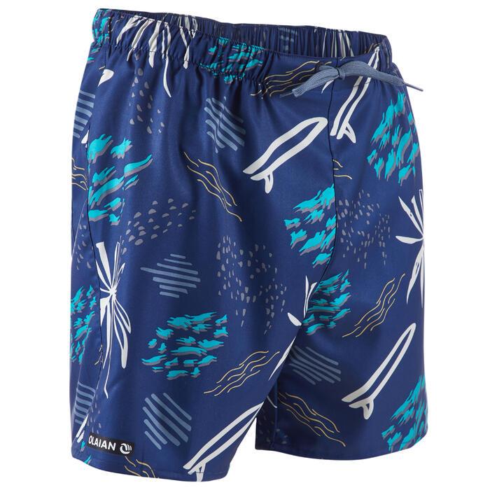 短版衝浪褲100-印花藍