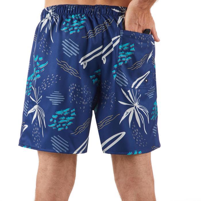 Kurze Boardshorts Surfen 100 Popfloral blau
