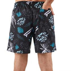 Surf short de bain court 100 Popfloral noir