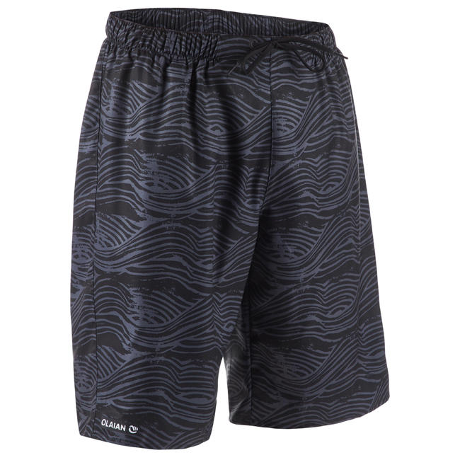 MENS SURFING BOARDSHORTS 100 LONG - FAKE STAMP BLACK