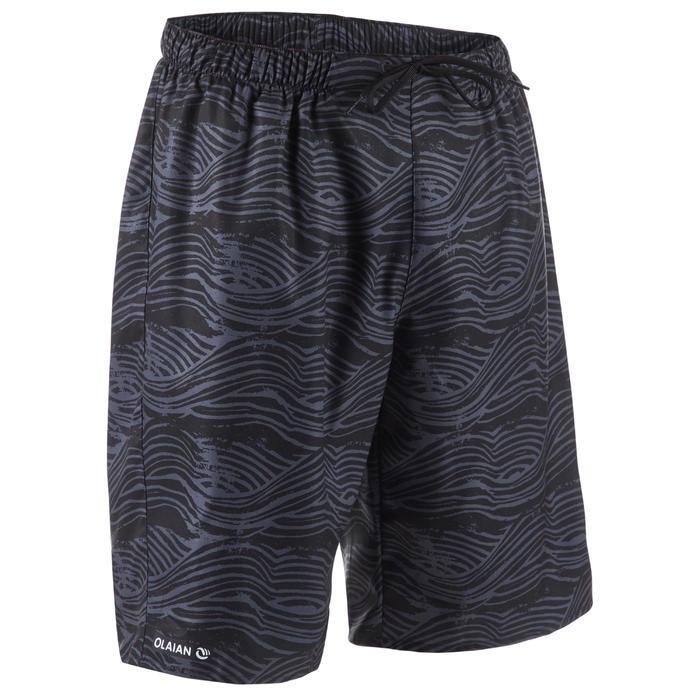長版衝浪海灘褲100-黑色花紋