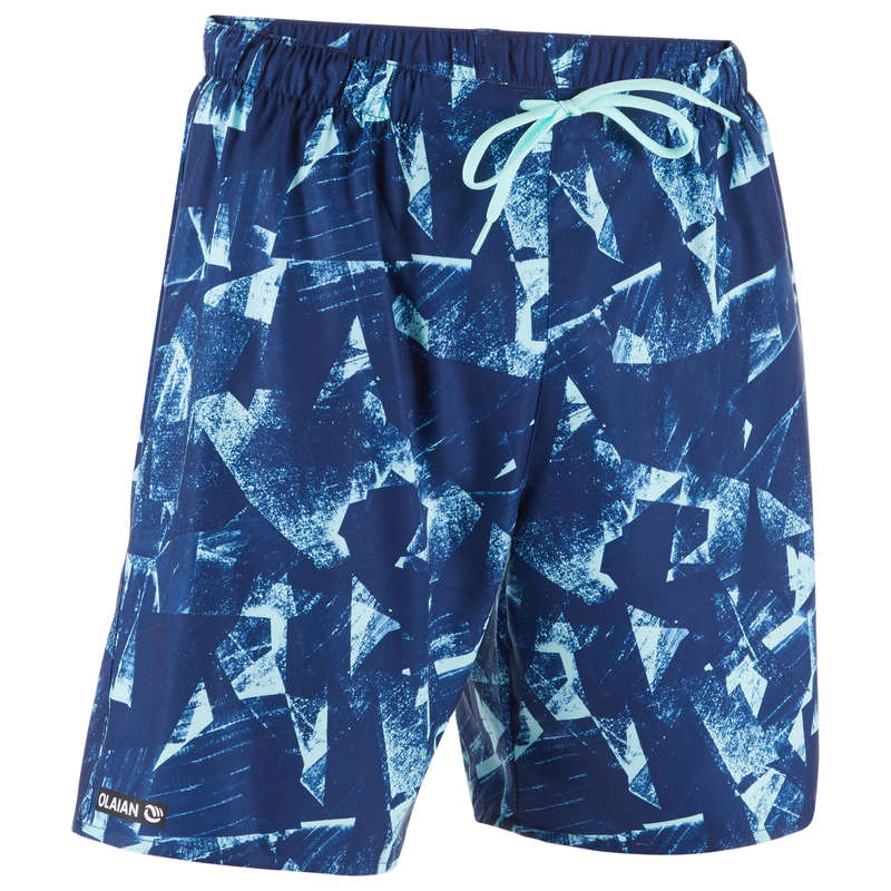 MEN'S BEGINNER BOARDSHORTS Swimwear and Beachwear - BS 100S - Papercut Blue OLAIAN - Swimwear and Beachwear
