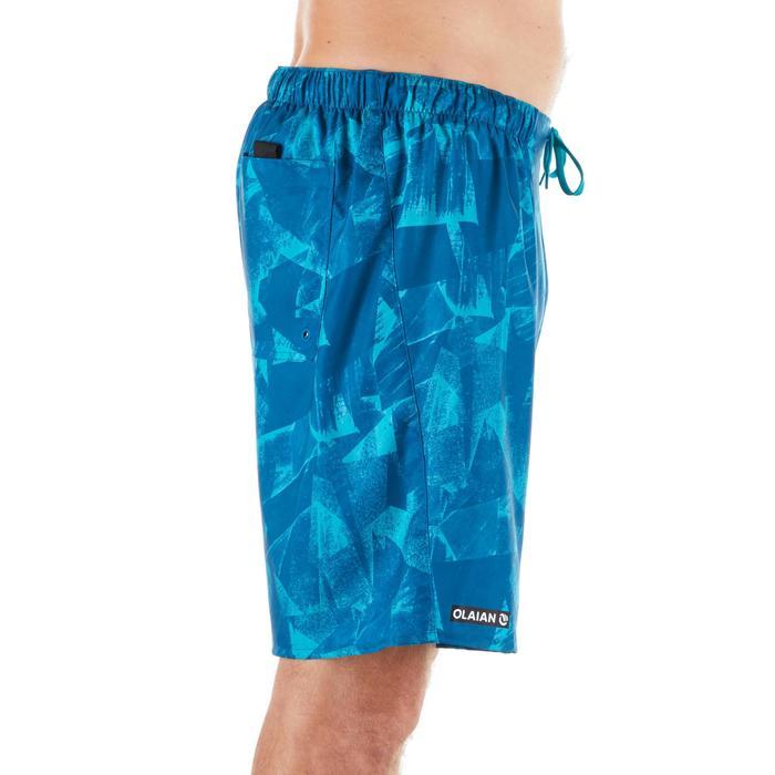 """Bañador Corto Surf Olaian 100 Papercut Hombre Azul Estampado 18"""""""