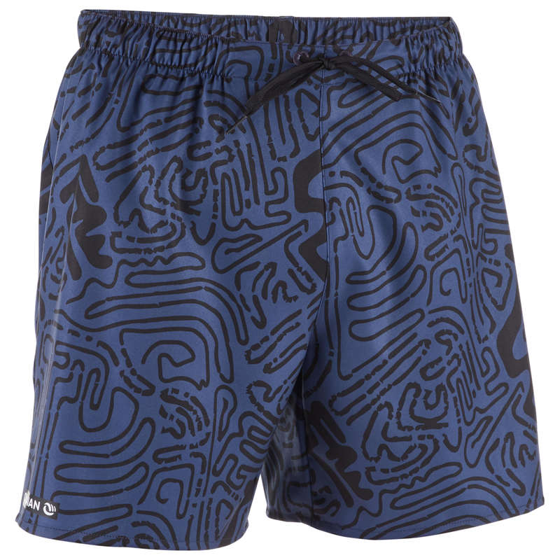 MEN'S BEGINNER BOARDSHORTS Swimwear and Beachwear - BBS 100 - Labyrinth Black OLAIAN - Swimwear and Beachwear