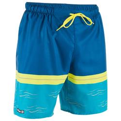 Bañador Surf Boardshort corto Olaian 100 newwaves hombre azul amarillo
