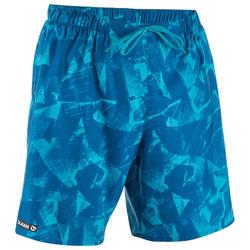 Bañador Surf Boardshort corto Olaian 100 papercut hombre azul estampado
