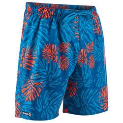 標準衝浪海灘褲100-紅色及葉子款