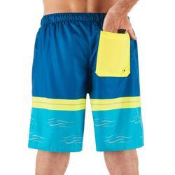 """Bañador Corto Surf Olaian 100 New Waves Hombre Azul Amarillo 18"""""""