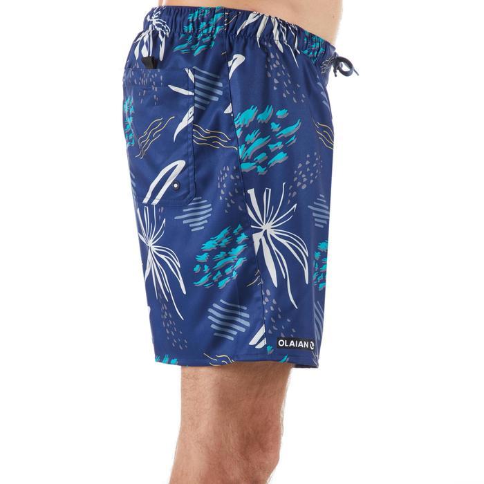 """Bañador Corto Surf Olaian 100 Popfloral Hombre Azul Menta Estampado 16"""""""