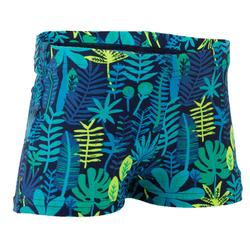 Zwemboxer voor jongens blauw met jungleprint