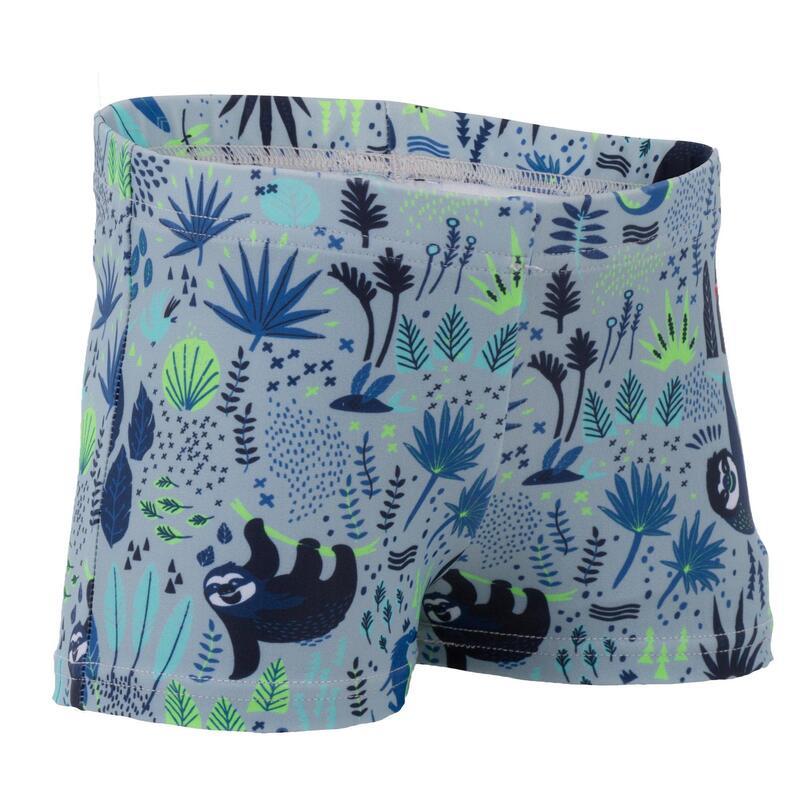 Light grey baby boy's sloth print boxer swimsuit