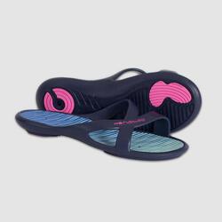 女款泳池拖鞋 - 藍色綠色
