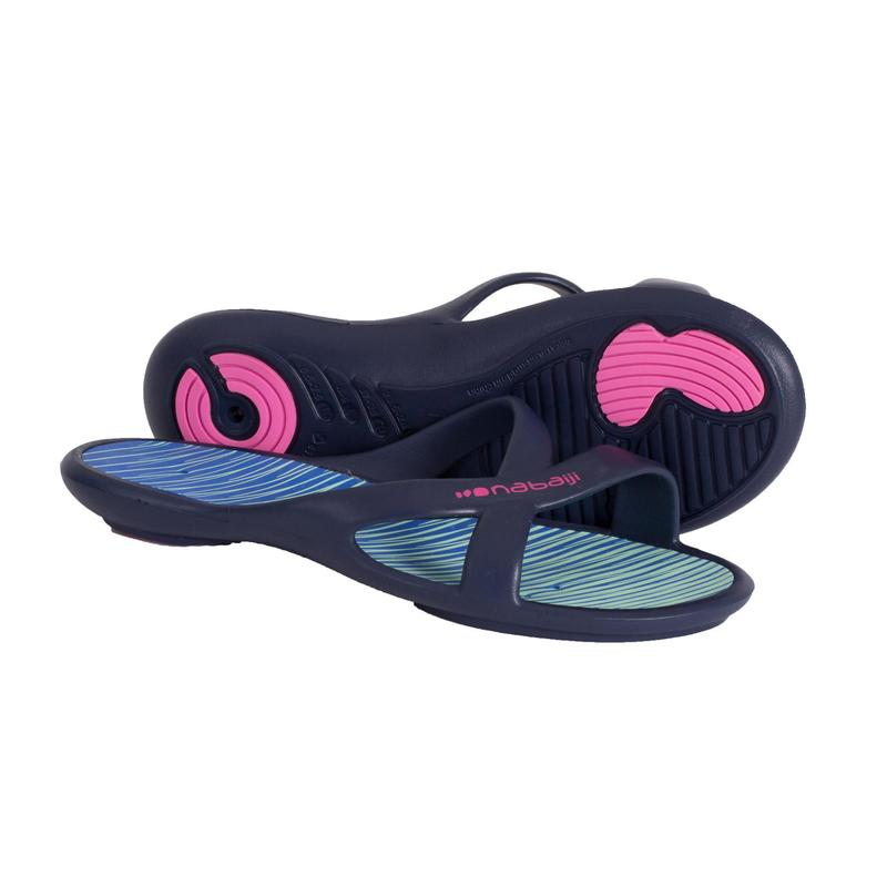 Badslippers voor zwembad dames Slap 500 Lay blauw/groen