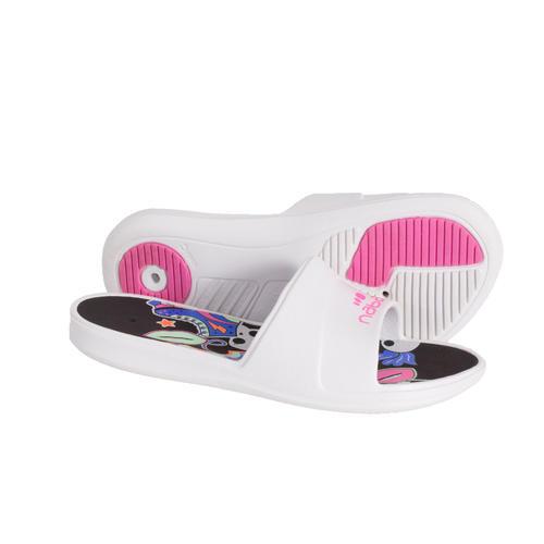 SANDALES DE PISCINE ENFANTS - SLAP 500 PRINT - DERBY BLANC NOIR