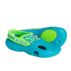 Bade-Clogs Kinder Affe blau/grün