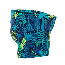 Traje de baño para bebé/niño tipo bóxer. Estampado selva azul