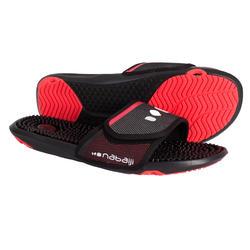 男款泳池拖鞋TOPSLAP 900黑色粉紅色