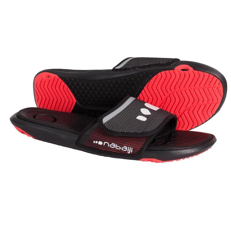 Swimming shoes - MEN'S SLAP 900 POOL SANDALS SOFT BLACK RED