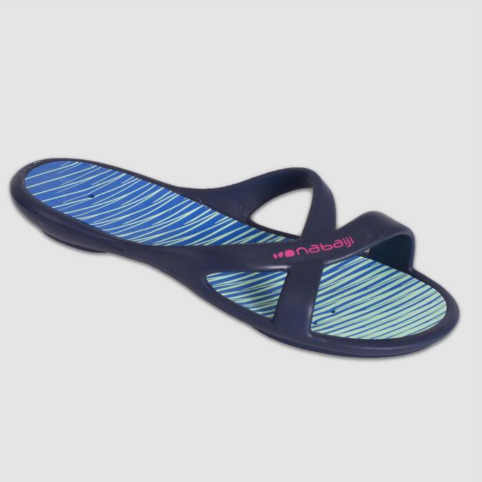 Badelatschen Slap 500 Damen blau/grün