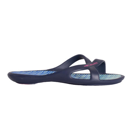 WOMEN'S POOL SANDALS SLAP 500 PRINT - BLUE GREEN