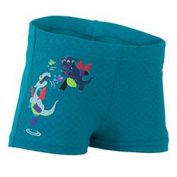 男嬰四角泳褲,藍色/龍印花