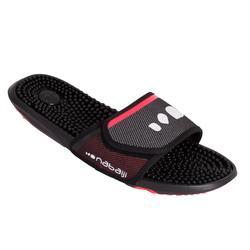 Heren badslippers voor zwemsport Slap 900 noppen zwart/rood