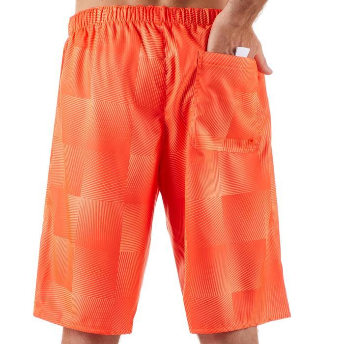 長版衝浪褲100-方塊螢光色