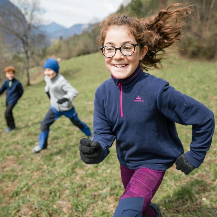 Fleecepullover Bergwandern MH120 Kinder blau