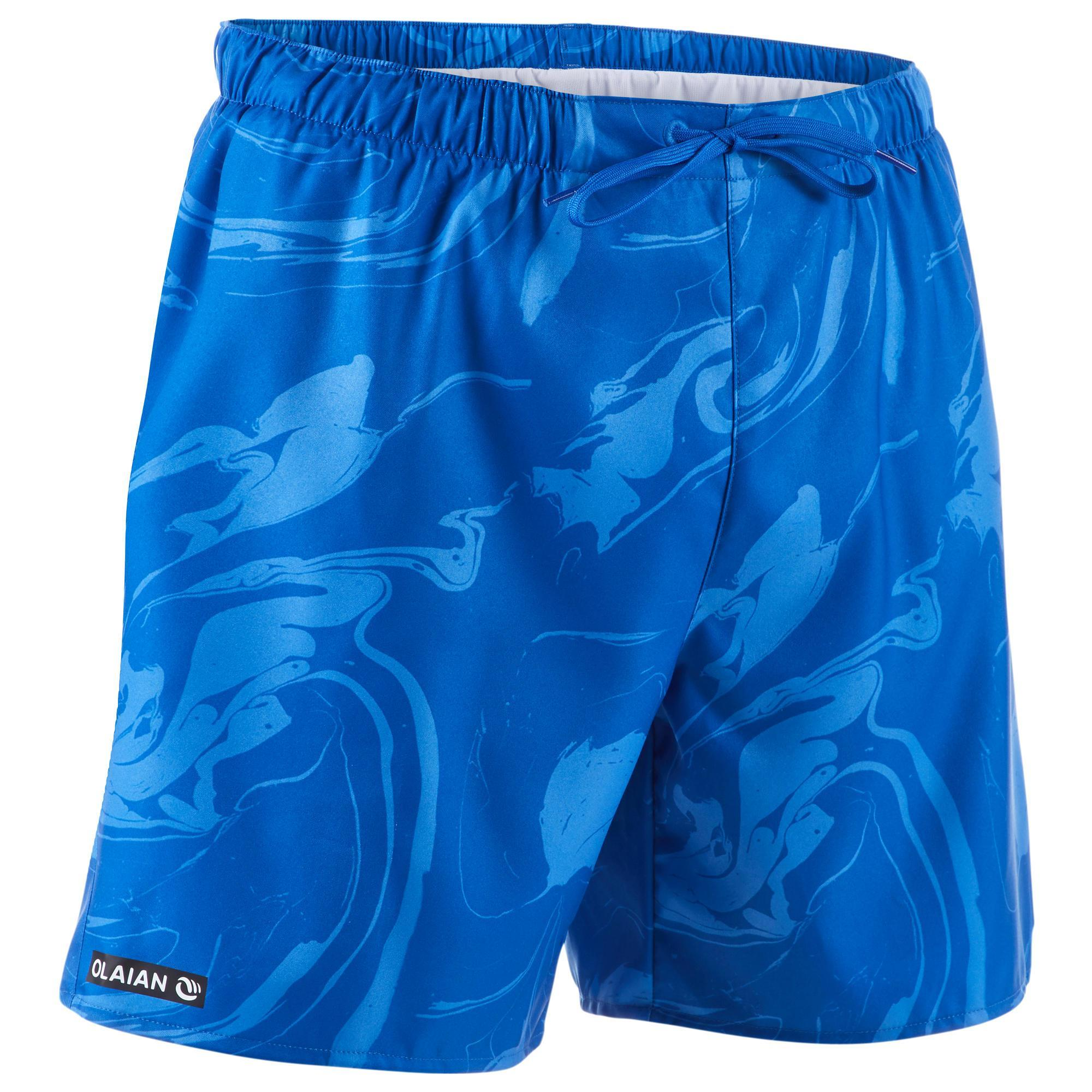Kurze Boardshorts Surfen 100 Aqua blau   Bekleidung > Bademode > Boardshorts   Blau   Olaian