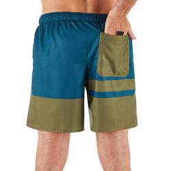 Korte surf boardshort 100 Stripes Kaki
