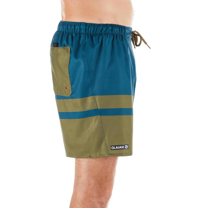 Korte boardshort 100 Stripes Kaki