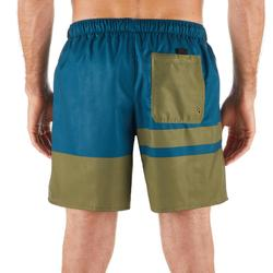 "Bañador Corto Surf Olaian 100 Stripes Hombre Azul Caqui 16"""