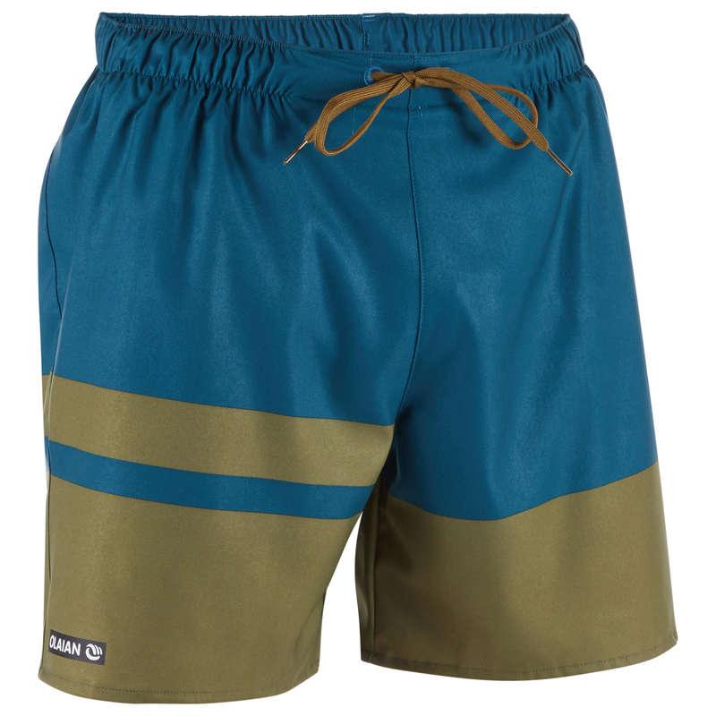 MEN'S BEGINNER BOARDSHORTS Swimwear and Beachwear - BBS 100 - Stripes Khaki OLAIAN - Swimwear and Beachwear