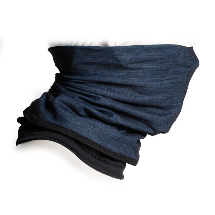 Nekwarmer in 2 materialen 500 grijs / zwart