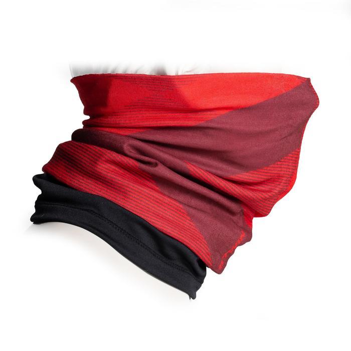 Nekwarmer in 2 materialen 500 rood / bordeaux / zwart