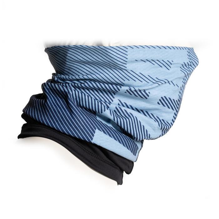 Nekwarmer in 2 materialen 500 marineblauw / zwart
