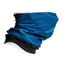 Nekwarmer in 2 materialen 500 blauw / zwart