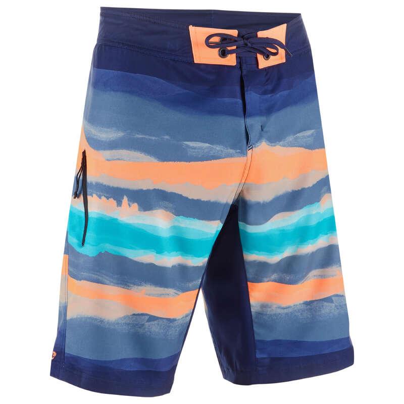 MEN'S INTERMEDIATE BOARDSHORTS Swimwear and Beachwear - SBS 500 - Paint Block Red OLAIAN - Swimwear and Beachwear