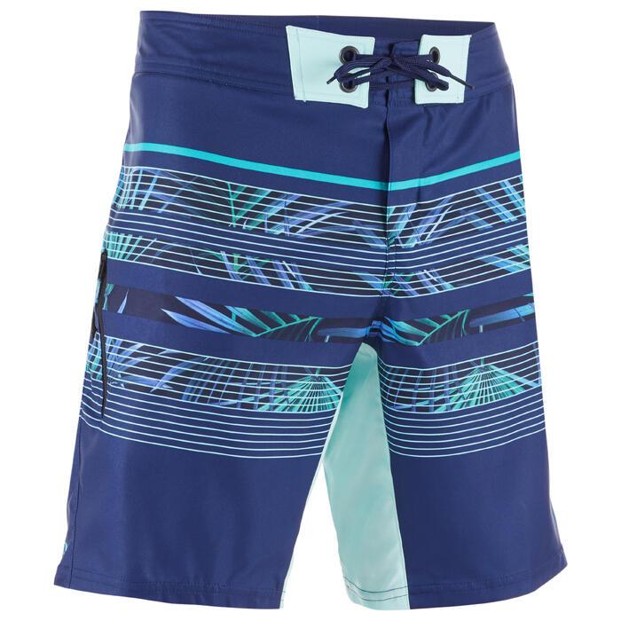 Boardshorts Surfen Standard 500 Floralmix blau