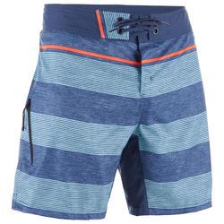 """Bañador Corto Surf Olaian 500 Lines Hombre Azul Gris 16"""""""