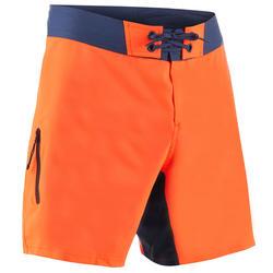 Bañador Corto Surf Olaian 500 Liso Hombre Naranja Azul