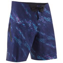 長版衝浪海灘褲900-深藍色及波浪款