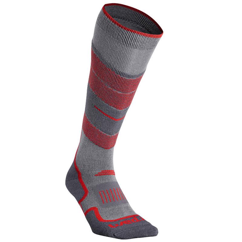 Lyžiarske ponožky - PONOŽKY 300 SIVO-ČERVENÉ WEDZE